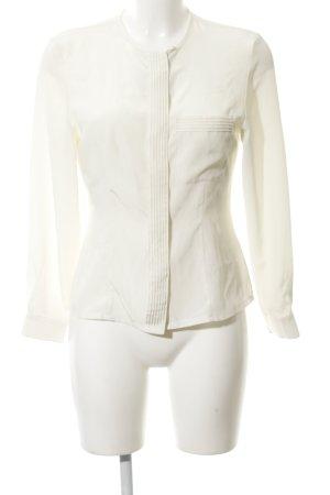 Vintage 55 Langarm-Bluse wollweiß Stofflagen-Detail