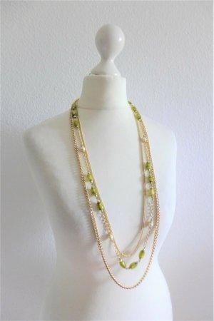 Vintage 60er 60s Hals Kette gold grün dreireihig lang Perlen