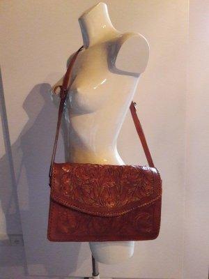 Vintage 60er 70er Leder Handtasche Gravur