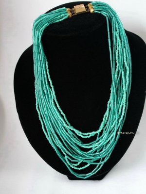 True Vintage Collar de perlas turquesa-azul cadete
