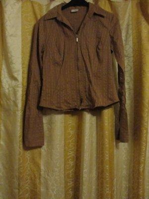 Vintage: 70er Bluse mit goldenen Streifen, GR 42