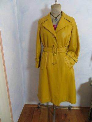 Vintage 70er Jahre Maisgelb Trenchcoat - Peter Eckert Creation Suisse Designer Leder Mantel Größe L