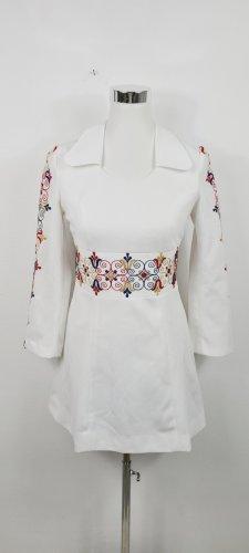 Vintage/ 70er Jahre Minikleid/ weiß mit Stickereien/ Größe 38/ Zustand: Sehr gut