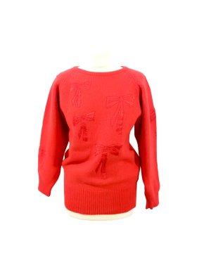 Vintage 80's/90's warmer Pullover Ang0ra Lammwolle rot schleifen Weihnachten Designer Sacha Fontaine