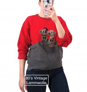 Vintage 80's/90's warmer Pullover Lammwolle rot Dalmatiner Designer