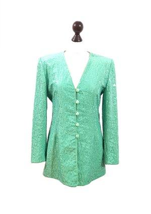 Vintage 80's Escada Couture Jacke Blazer Seide Gr. 38 grün Pailletten mit Schulterpolstern