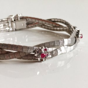 Vintage 800er Silberarmband Edelstein Turmalin Vintage 60er /70er silver bracelet Modernist