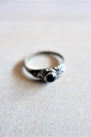 Vintage Statement ring zilver-zwart