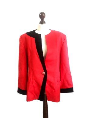Vintage 80er/90er Luxus Wolle Blazer rot schwarz samt
