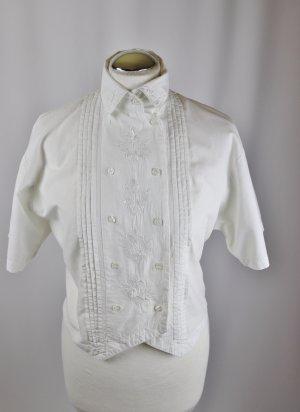 Vintage 80er Bluse Kurzbluse C&A Größe 34 36 Weiß Stickerei Stehkragen Trachtenbluse Biesen