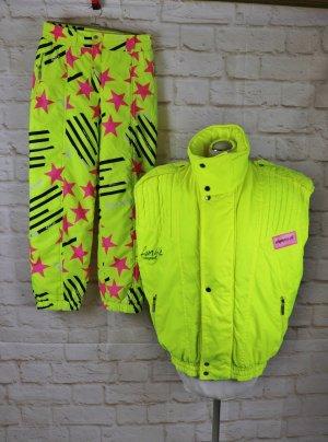 Vintage 80er Neon Winter Ski Zweiteilig Weste Hose Olympia Sportswear Größe 38 40 Neon Gelb Pink Sterne Wattiert