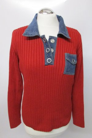 Vintage 80er Strick Pulli Zagora Größe 40 Rot Jeans Materialmix Dunkelrot Blau Polo Kragen Druckknopf Ripp Strickpullover Pullover