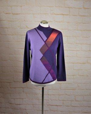 Vintage 80er Strickpullover mersini Größe M 38 Turtleneck Lila Grafisch Pullover Wolle Crazy Pattern