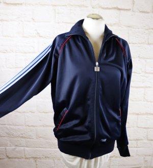 Vintage 80er Trainigsjacke Sport Jacke Streifen Rodeo Größe M 38 40 Blau Dunkelblau Glanz Reißverschluss
