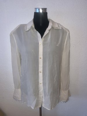 Vintage 80s Bluse Hemd Oversize Schulterpolster Perlknöpfe Spitze
