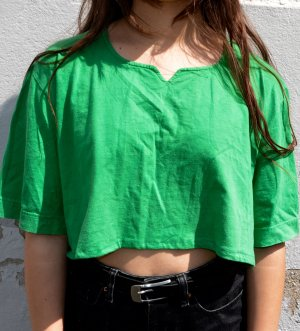 Vintage Cropped Shirt green-forest green