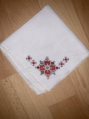 Vintage Fazzolettino da tasca bianco-rosso scuro