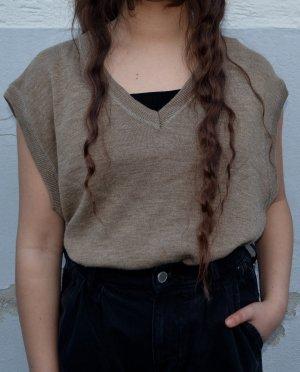 Vintage Sweter bez rękawów z cienkiej dzianiny Wielokolorowy Wełna z alpaki
