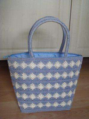 Vintage Bolso tipo cesta azul celeste-blanco