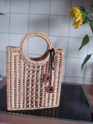 Vintage Bolso tipo cesta amarillo claro madera