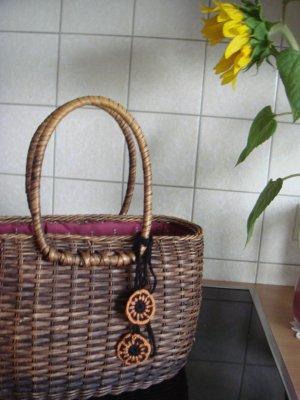 Vintage Torebka koszyk Wielokolorowy Drewno