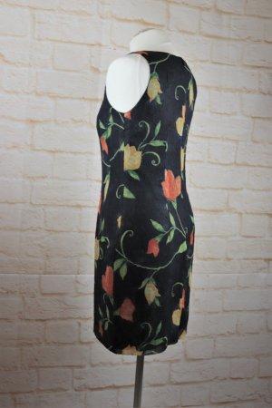 Vintage 90er Minikleid Etuikleid Kleid Größe S 36 Anthrazit Orange Blumen Crash Chiffon