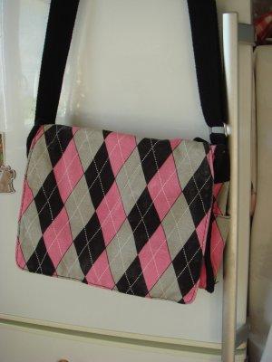 Vintage - 90er Umhängetasche Tasche Shopper Handtasche Ornamente pink grau schwarz