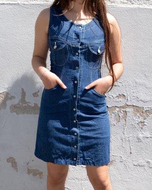 Vintage 90s Jeans Kleid mit Knopfleiste und Taschen