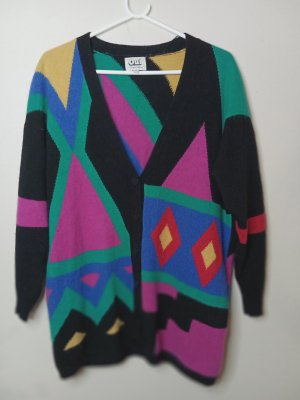 Vintage 90s OUI relaxed abstract V-neck Kardigan Strickweste mit Wolle.