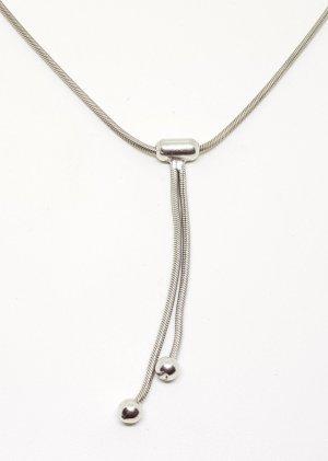 Vintage 925 Sterling Silber Collier Kette Schlangenkette 2 Kugeln
