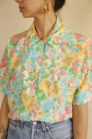 Akris Zijden blouse roze-lichtgroen Zijde