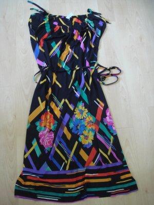 Vintage - Abendkleid Coktailkleid Strandkleid Kleid  Gr. 42 44 - schwarz buntes Muster - kräftig bunt
