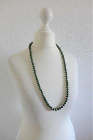 Vintage alt Gatsby Halskette lang Perlen Halbedelstein Jade grün
