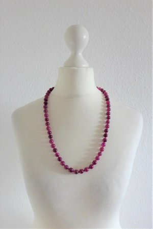 Vintage alt Halskette lang Perlen Halbedelstein Jade rot pink beere