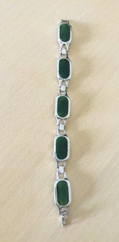 Vintage Armband 925-er Silber mit echten Jadesteinen