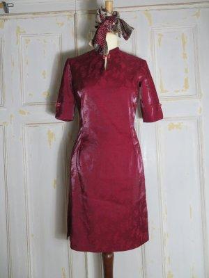 Vintage Asia Kleid, Burgunderrot, Floral, Gr. S, Kurzarm Bleistiftkleid, Vietnam Kleid