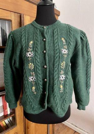 Vintage Astrifa grüne Strickjacke mit gestickte Blumen