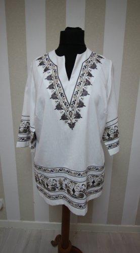 Atelier Creation Camicia a tunica bianco-marrone chiaro