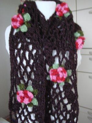 Vintage Crochet Scarf multicolored wool