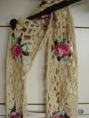 Vintage Bufanda de flecos multicolor Lana