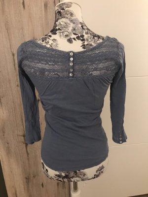 Maglione a maniche corte azzurro-blu fiordaliso
