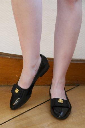True Vintage Bailarinas de charol con tacón negro-color oro tejido mezclado