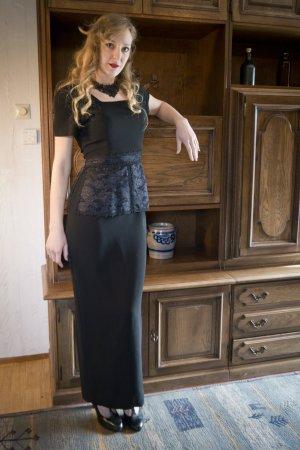 Vintage Ballkleid mit Spitzen XS S Retro 80s 90s Schwarz Gothic Maxi Bodenlang Kleid