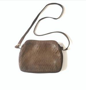 Vintage Bally Designer Tasche Echtleder Flechtmuster Crossbody braun