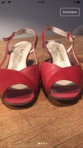 Vintage Bally Peeptoe Slingpumps Rot Lackleder 39