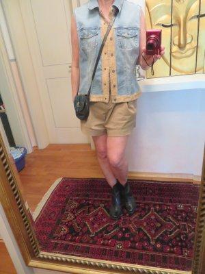 Vintage Betty Barclay Verwaschen Hellblau Oversize Jeansweste echt Ledertrimming - L XL - Western Biker Boho Festival