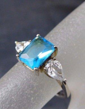 Vintage Blautopas Modern Art Edelstein Ring 925 Sterling echt Silber Swarovski Zirkonia & Blau topas