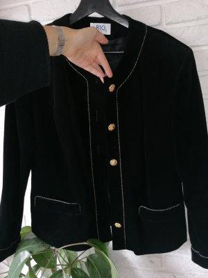 Vintage Chic Blazer Tweed negro-color oro