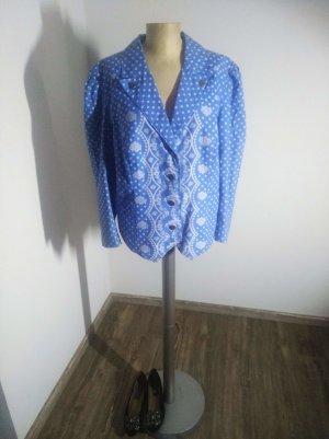 Vintage Blazer / Jacke Oversized blau weiß Folklore Trachtenstil Gr. XL