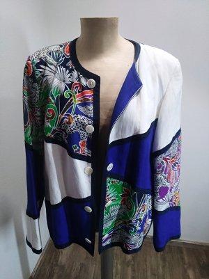 Vintage Blazer / leichte Jacke Leinen Baumwolle blau bunt gemustert Oversize Gr. L/XL